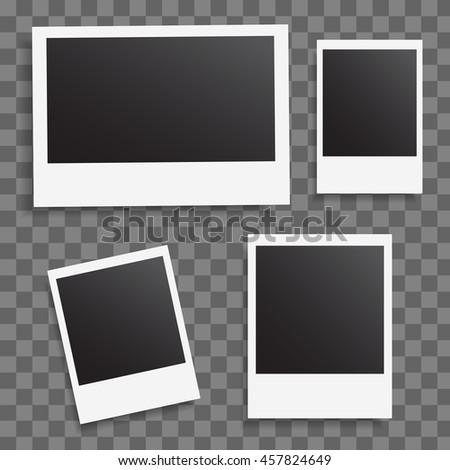 Photo frames on a transparent background. Photo mockup set. Photo vector collection. Photo empty blank. Retro frame blank. Retro photoframe elements. Vintage object. Mock up photography vector set. #457824649