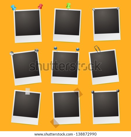 photo frames on orange background