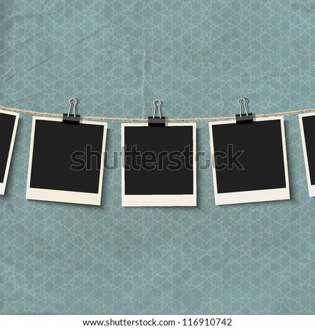 Photo Frames on rope. Vector illustration