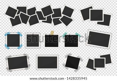 Photo frames pack. Square frame template with shadows isolated on transparent background. Vector illustration