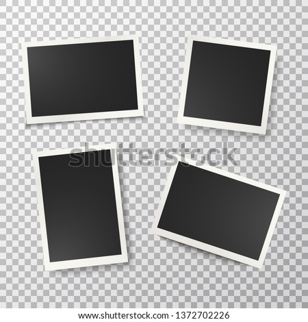 Photo frames set on transparent background. Realistic retro empty photo frames. Vintage style. Mockup design templates. Vector illustration.