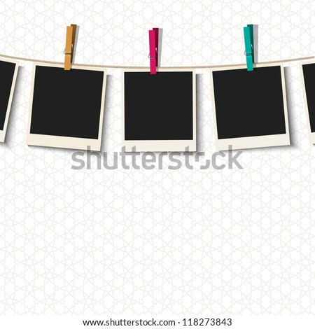 Photo Frames with clothespins.Vector illustration