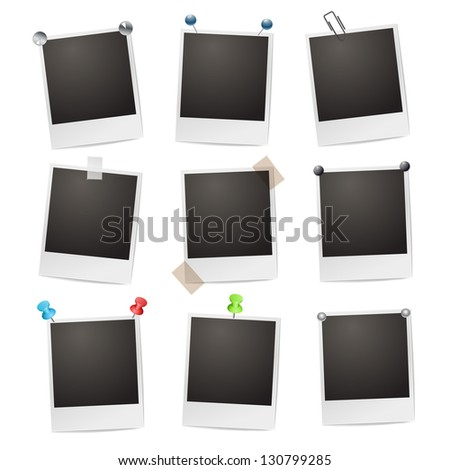 Photo frames with pushpins, paperclips and tape