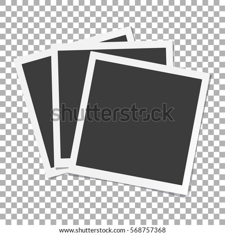 Photo frames with shadow on isolate background, vector template for your stylish photos or images, EPS10