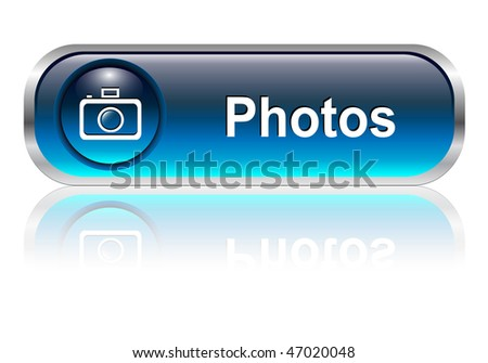 Photo gallery button, icon blue glossy with shadow, vector illustration