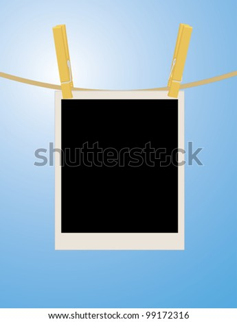 photo hanging on rope over sky vector illustration