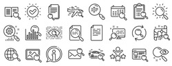 Photo indexation, Artificial intelligence, Car rental icons. Search line icons. Airplane flights, Web search engine, Analytics. Find photo, checklist document, artificial intelligence eye. Vector