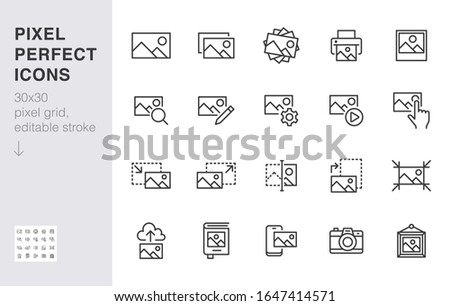 Photo line icon set. Image gallery, picture frame, printer, file resize, camera minimal vector illustrations. Simple outline signs for photos editor application. 30x30 Pixel Perfect. Editable Strokes.