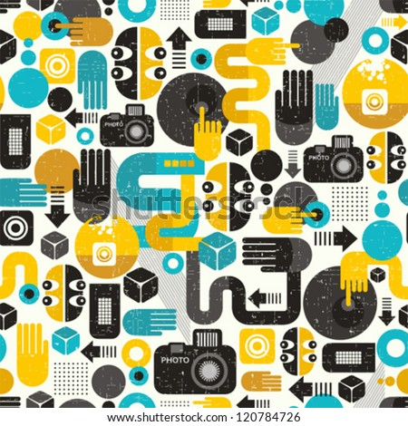Photo man seamless background. Abstract vector pattern with photographer monster.