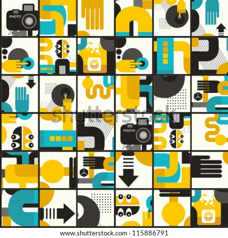 Photo man seamless pattern. Abstract vector illustration of photographer monster.