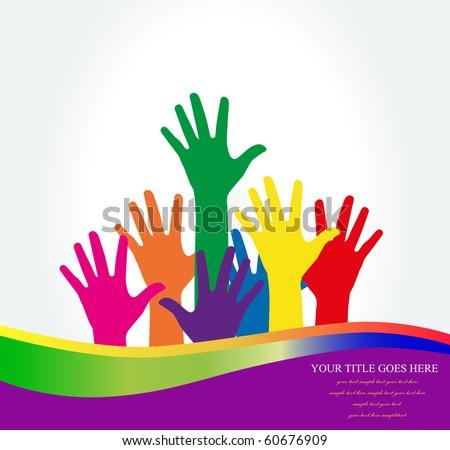 Photo of raised hands .Vector  Illustration