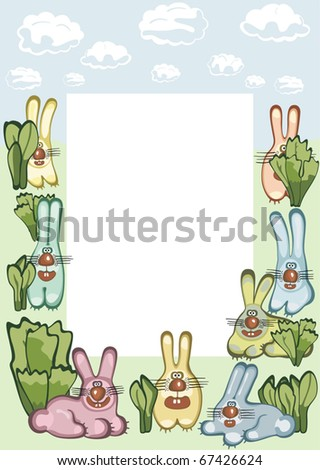 Photo or message frame with hares. Vector illustration