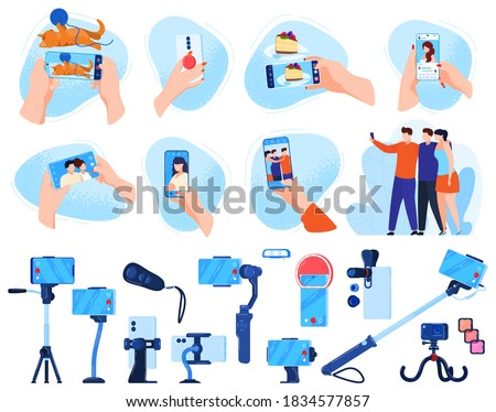 Photo phone shooting vector illustration set. Cartoon flat mobile smartphone photography, equipment collection of photographer hand with digital camera taking photos, people posing isolated on white