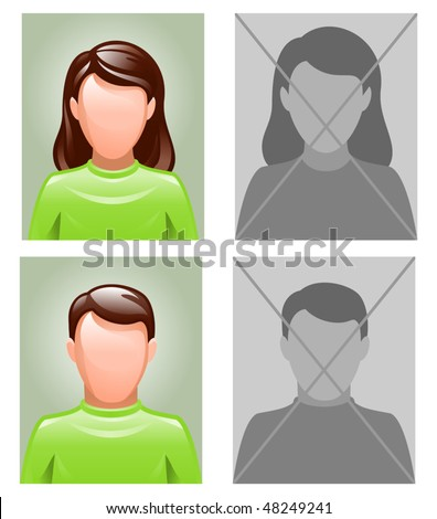 photo pictures as avatars - stock vector