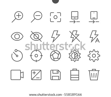 Photo Pixel Perfect Well-crafted Vector Thin Line Icons 48x48 Ready for 24x24 Grid for Web Graphics and Apps with Editable Stroke. Simple Minimal Pictogram Part 1-2 Stock photo ©