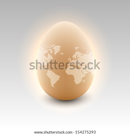 Photo-real egg with world map