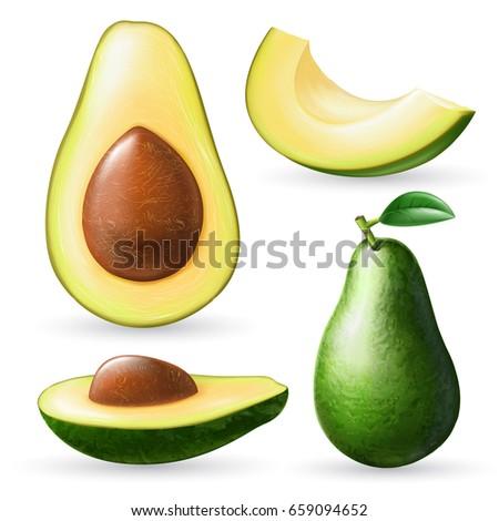 Photo realistic avocado set. Full editable, isolated on white. Fresh avocado, sliced, pieces.