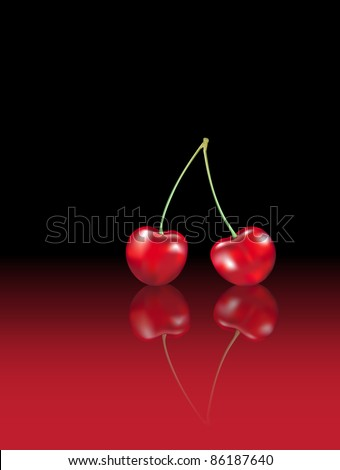photo realistic cherries with