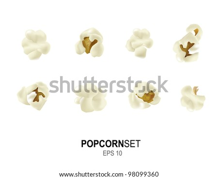Photo realistic detailed isolated vector popcorn set