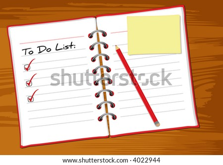 Photo realistic open notebook with to do list, memo paper and red pen on wooden table