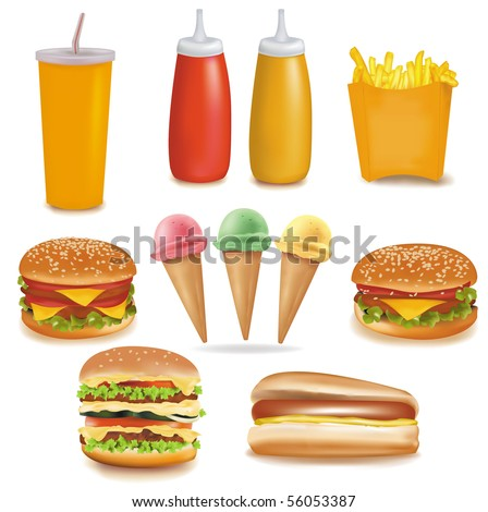 Photo-realistic vector. Big group of food.