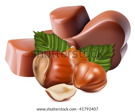 Photo-realistic vector illustration. Chocolates and hazelnuts.
