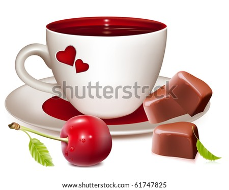 Photo-realistic vector illustration. Cup of tea (coffee) heart-shaped chocolates and ripe cherries.