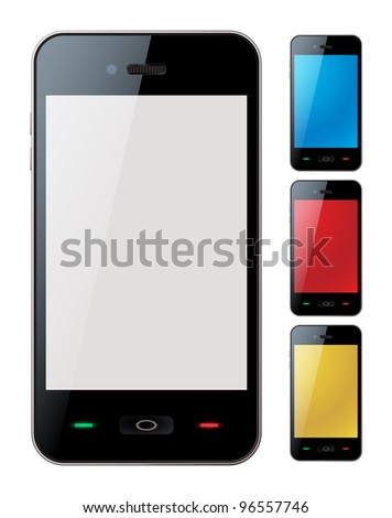 Photo-realistic vector illustration of different colored smart phones with copyspace on the screen - isolated