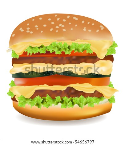 Photo-realistic vector illustration of the big cheeseburger isolated on the white background.