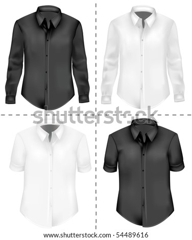 Photo-realistic vector illustration. Two T-shirts (men). Black and white