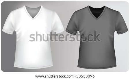 Photo-realistic vector illustration. White and black t-shirts with triangle collars.