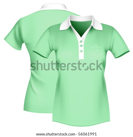 Photo-realistic vector illustration. Women\'s polo shirt template.