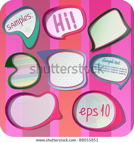 photo-realistic vector stickers with shadows and frame. Can be scaled without quality loss.