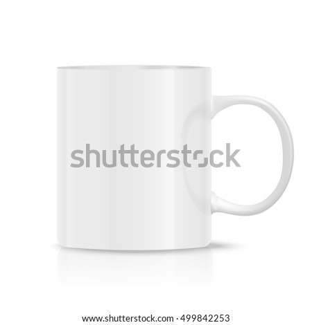 Photo realistic white cup isolated on the white background. Design Template for Mock Up. Vector illustration.