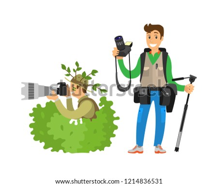 Photo reporter in bush, setting focus, vector. Photojournalist with tripod and camera gear, man zoom picture hiding in green leaves, paparazzi isolated