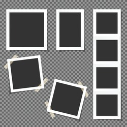 Photo square frames. Photo frames isolated on transparent background.