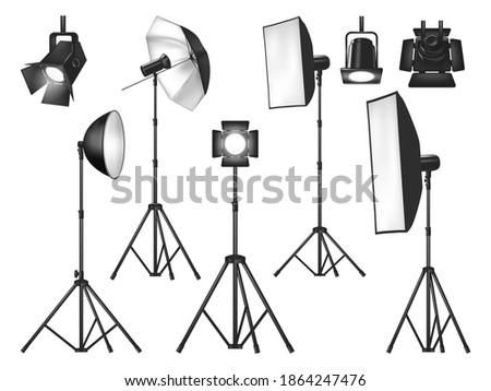 Photo studio lighting equipment and lights isolated vector objects. Realistic 3d spotlights and tripod stands with flash lamp, reflector and softbox, umbrella and floodlight, photographer lighting kit Stock fotó ©