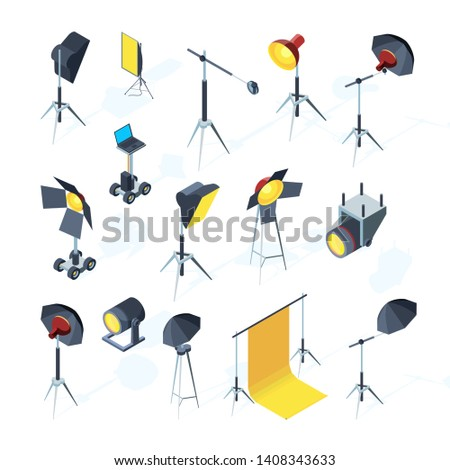 Photo studio tools. Video or tv production equipment flashing and directional light umbrella softbox photo studio vector tools. Studio equipment professional illustration