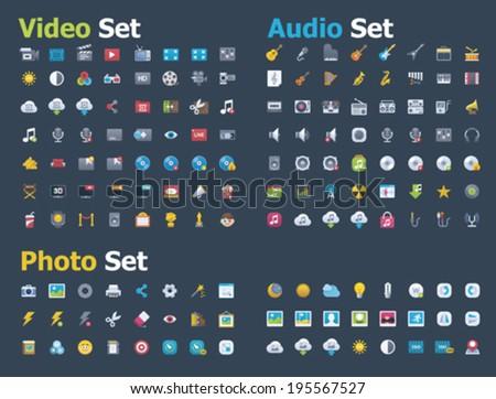 photo  video and audio icon set
