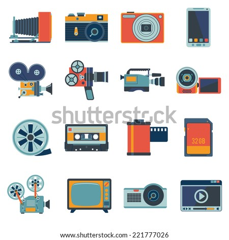 Photo video camera and multimedia equipment flat icons set isolated vector illustration