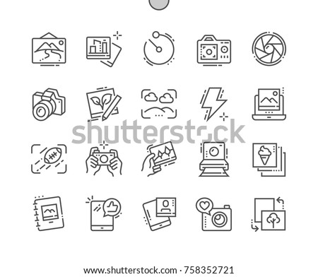 Photo Well-crafted Pixel Perfect Vector Thin Line Icons 30 2x Grid for Web Graphics and Apps. Simple Minimal Pictogram