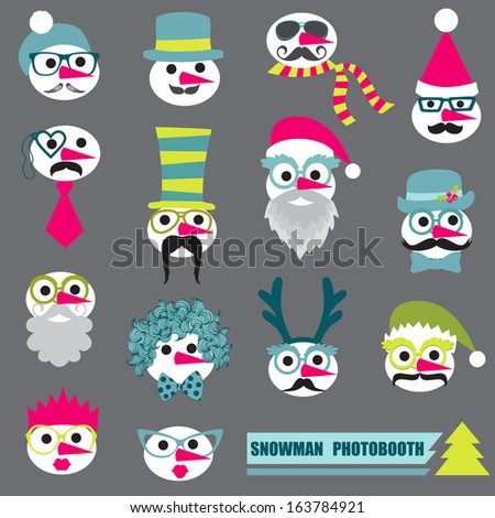Photobooth Snowman Party set Glasses hats lips mustache masks in vector