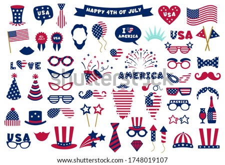 Photobooth USA patriotic props. Celebration photobooth mask, American glasses, mustache and hat, photo props vector symbols set. American party, mask booth independence holiday illustration Foto d'archivio ©
