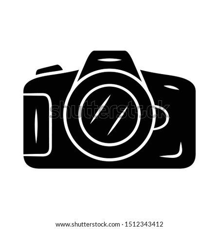 Photocamera glyph icon. Professional photocamera. Making snapshots, taking pictures device. Photographing equipment. Photographer tool. Silhouette symbol. Negative space. Vector isolated illustration