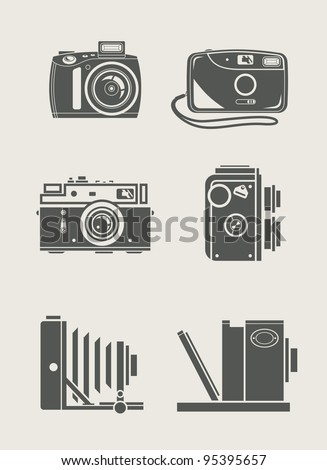 photocamera retro and new set