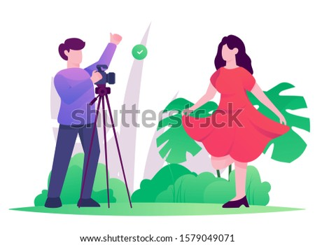photograph session woman flat illustration