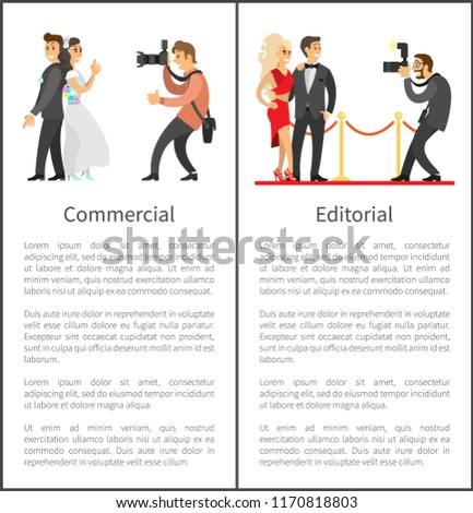 Photographer and paparazzi online vertical banners set. Wedding photo, bride next to groom, celebrities couple on red carpet vector illustrations.
