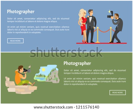 Photographer and paparazzi with camera Internet banners. Celebrities on red carpet, man in mountains taking photo of landscape vector illustrations.