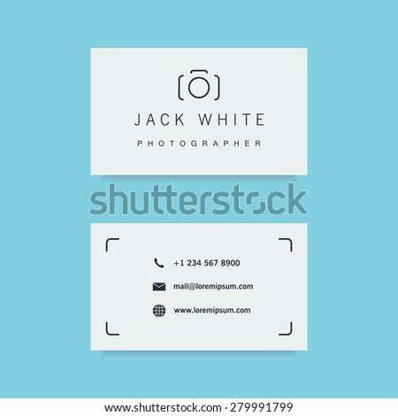 photographer business card template clean and minimalistic flat style vector illustration