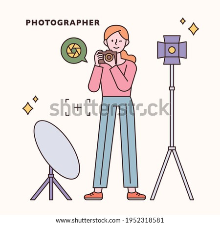 Photographer character and icon set. flat design style minimal vector illustration. Сток-фото ©